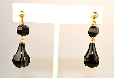 Antique Victorian Gold Filled French Jet Mourning 3-D Dangle Screw Back Earrings