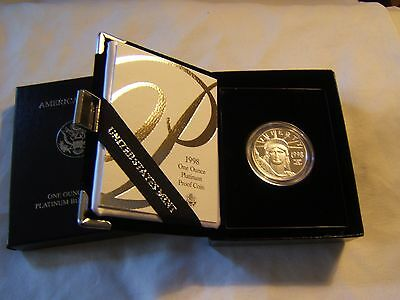 1998 W $100 1 oz proof Platinum Eagle with US Mint packaging