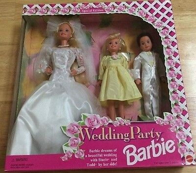 BARBIE WEDDING PARTY DOLL DELUXE SET 1994 Stacie Todd NRFB MINT
