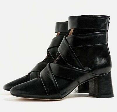 b50e2f2838f ZARA NEW HIGH Heel Leather Ankle Boots With Stretch Detail Black 36 ...