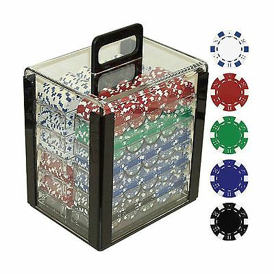 Trademark Poker 1000 Dice Striped Chips in Acrylic Carrier 11.5gm Clear New