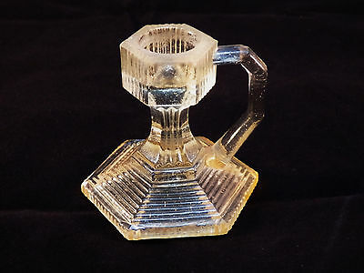 Vintage Mini Antique Art Deco Clear Glass Chamberstick Candle Holder Japan