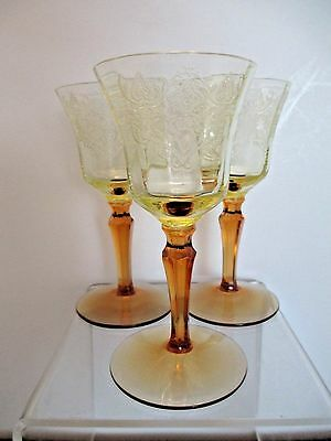"Three (3) Tiffin Amber Yellow  Etched Cordial Liquer Glasses 3-78"" Line 200-1"