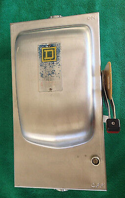 Stainless Steel SQUARE D 60 AMP NON-FUSED SAFETY SWITCH NEMA  600 VAC HU362DS