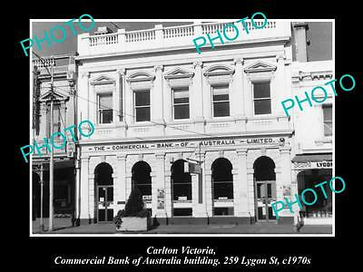 OLD LARGE HISTORIC PHOTO OF CARLTON VICTORIA, COMMERCIAL BANK OF AUSTRALIA c1970