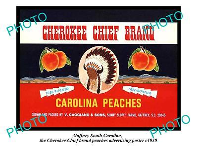 OLD LARGE HISTORIC PHOTO OF GAFFNEY SOUTH CAROLINA CHEROKEE PEACHES POSTER c1950