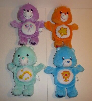 Lot of 4 - Care Bears Plush Hand Puppets 2003 Purple Orange Blue Green