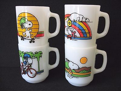 LOT 4 SNOOPY anchor hocking MILK GLASSmugs Keeping Fit Pedal Power Expert WALTZ