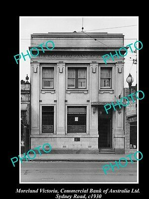 Old Large Historic Photo Of Moreland Victoria, Commercial Bank Of Australia 1930