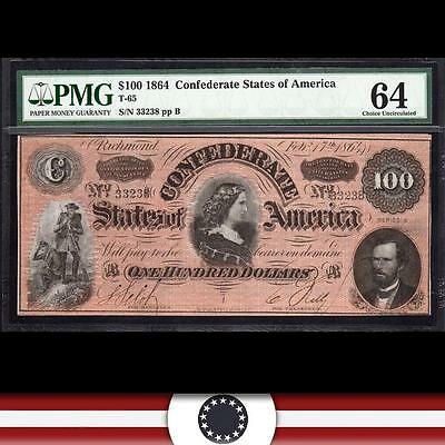 T-65 1864 $100 Confederate Currency *LUCY PICKENS*  PMG 64  3416