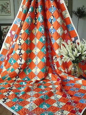 "Great Color + Fun Feedsack VINTAGE 1930s Orange Bow Tie QUILT 70"" x 69"""