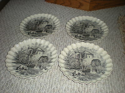 Vintage Scalloped Plates Lot of 4 Waterwheel Scene Fishing Old Grist Mill Miller