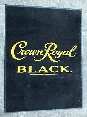 "Crown Royal Black Floor Bar Mat Rug 47"" X 35"" (Rubber-Backed) Man-Cave Whiskey"