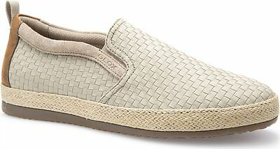Geox COPACABANA Sand Beige Woven Textile Nappa Men Sneakers Shoes Size 9 NEW