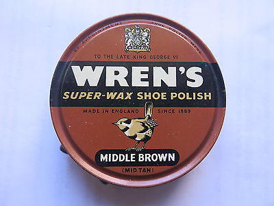 WRENS MIDDLE BROWN MID TAN SUPER WAX SHOE POLISH TIN c1950s BRITISH