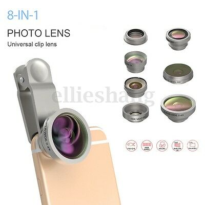 8 in 1 Clip On Fisheye+Wide Angle+Macro Camera Lens Travel Kit For Mobile Phone