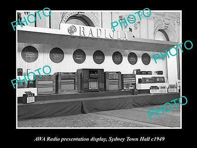 Old Large Historic Photo Of The Awa Radio Sydney Town Halll Show Stand, 1949