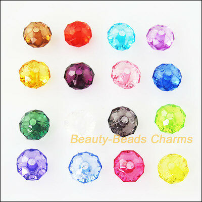 150Pcs Mixed Plastic Acrylic Clear Faceted Round Flat Charms Spacer Beads 6mm