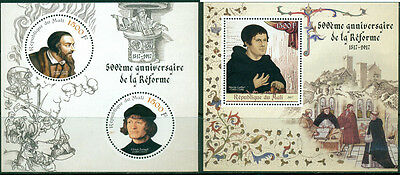 Reformation 500 Martin Luther Calvin Zwingli Protestantism Mali MNH stamp set