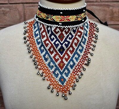 Beaded Boho Necklace Chic Kuchi Colorful Choker ATS Tribal Fusion Jewelry