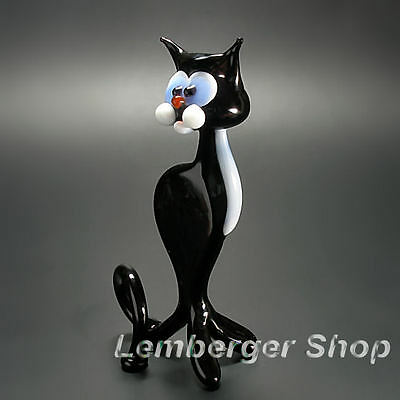 Glass figurine cat made of colored glass. Height 8 cm / 3.2 inch!