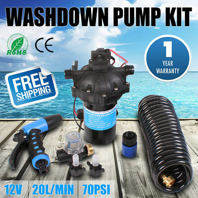 New 12V Washdown Pump Kit 20L/min 70PSI Pressure Wash Cleaning Deck Caravan Boat