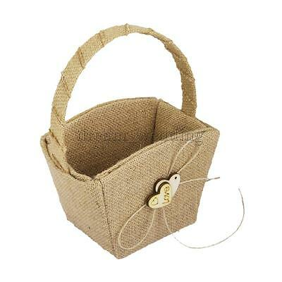 Vintage Hessian Burlap Flower Girl Basket Wood Heart Decor Wedding Supplier