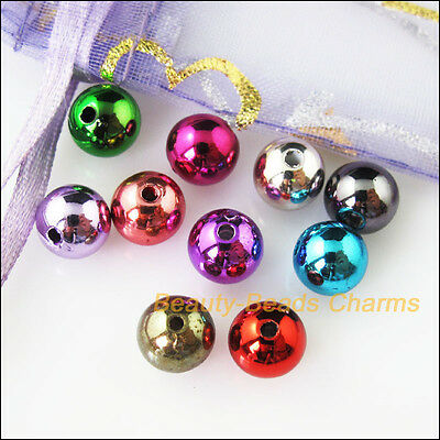 40Pcs Mixed Plastic Acrylic UV Smooth Round Ball Charms Spacer Beads 8mm