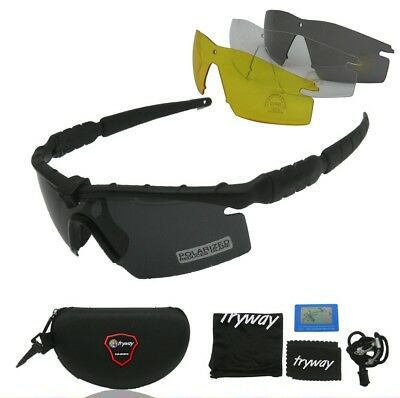 Tactical Frame Sun Glasses Shooting Sport Safety Polarized UV Lens Goggles Black