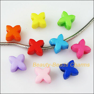 20Pcs Mixed Plastic Acrylic Leaf Flower Charms Spacer Beads 11.5mm