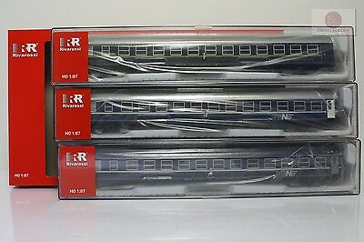 H0 1:87 Rivarossi HR4169 lights Set 3 carroze Tipo MU trenes escala ho gauge