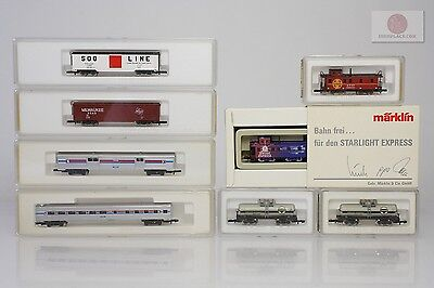 Z 1:220 Märklin 8x lot of USA freight and passenger cars Marklin miniclub trains