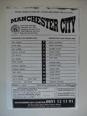 1994 Manchester City Reserves v Huddersfield Town 18-1-94 Single Sheet
