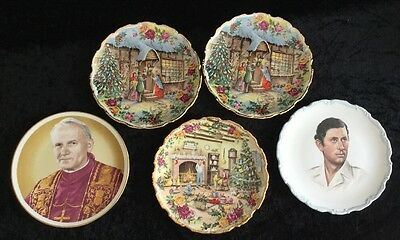 ROYAL ALBERT Collectors Plates X 5  Christmas Fred Errill, Pope, Prince Of Wales