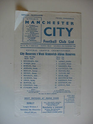 1968 Manchester City Reserves v West Bromwich Albion Res 30-11-68 Single Sheet