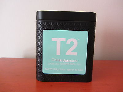 T2 - CHINA JASMINE -  Loose Leaf Scented Green Tea 100g & Embossed Tin - NEW