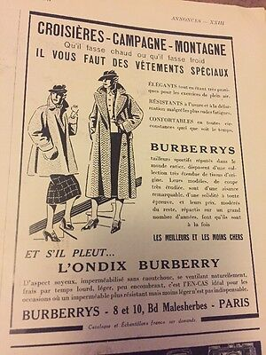 Vintage Advertising Burberry Leisure Fashion French 1930s Original Ad
