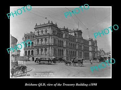 OLD LARGE HISTORIC PHOTO OF BRISBANE QLD, VIEW OF THE TREASURY BUILDING c1898