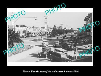 OLD LARGE HISTORIC PHOTO OF YARRAM VICTORIA, THE MAIN St & STORES c1940