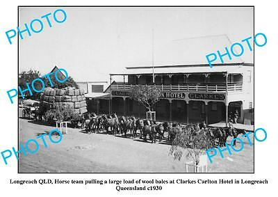 OLD LARGE PHOTO, LONGREACH QUEENSLAND, WOOLBALES & CLARKES HOTEL c1930