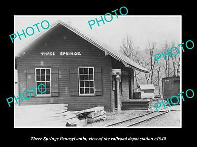 OLD LARGE HISTORIC PHOTO OF THREE SPRINGS PENNSYLVANIA, THE RAILROAD DEPOT c1940