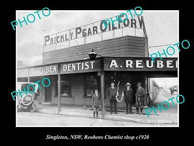 OLD LARGE HISTORIC PHOTO OF SINGLETON NSW, VIEW OF REUBENS CHEMIST SHOP c1920