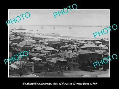OLD LARGE HISTORIC PHOTO OF BUNBURY WEST AUSTRALIA, THE TOWN & WATERFRONT c1900