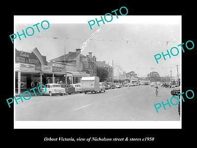 OLD LARGE HISTORIC PHOTO OF ORBOST VICTORIA, VIEW OF NICHOLSON St & STORES c1950
