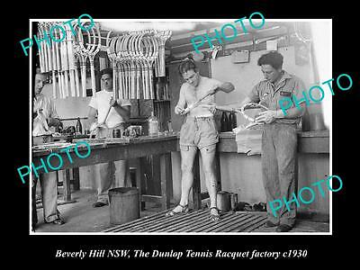 Old Large Historic Photo Of Beverly Hills Nsw Dunlop Tennis Racquet Factory 1930