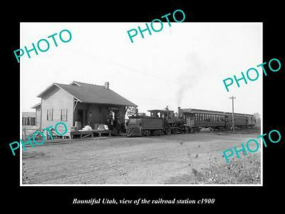 OLD LARGE HISTORIC PHOTO OF BOUNTIFUL UTAH, VIEW OF RAILROAD STATION c1900