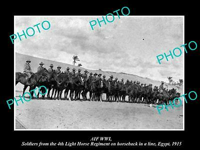 OLD LARGE HISTORIC PHOTO OF AUSTRALIAN ANZAC, THE 4th LIGHT HORSE IN EGYPT c1915