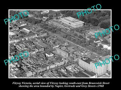 OLD LARGE HISTORIC PHOTO OF FITZROY VICTORIA, AERIAL VIEW OF BRUNSWICK St c1960