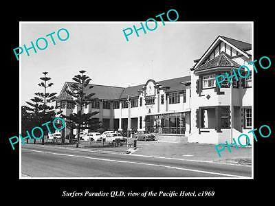 Old Large Historic Photo Of Surfers Paradise Qld, View Of The Pacific Hotel 1960