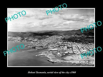 OLD LARGE HISTORIC PHOTO OF HOBART TASMANIA, AERIAL VIEW OF THE CITY c1960 1